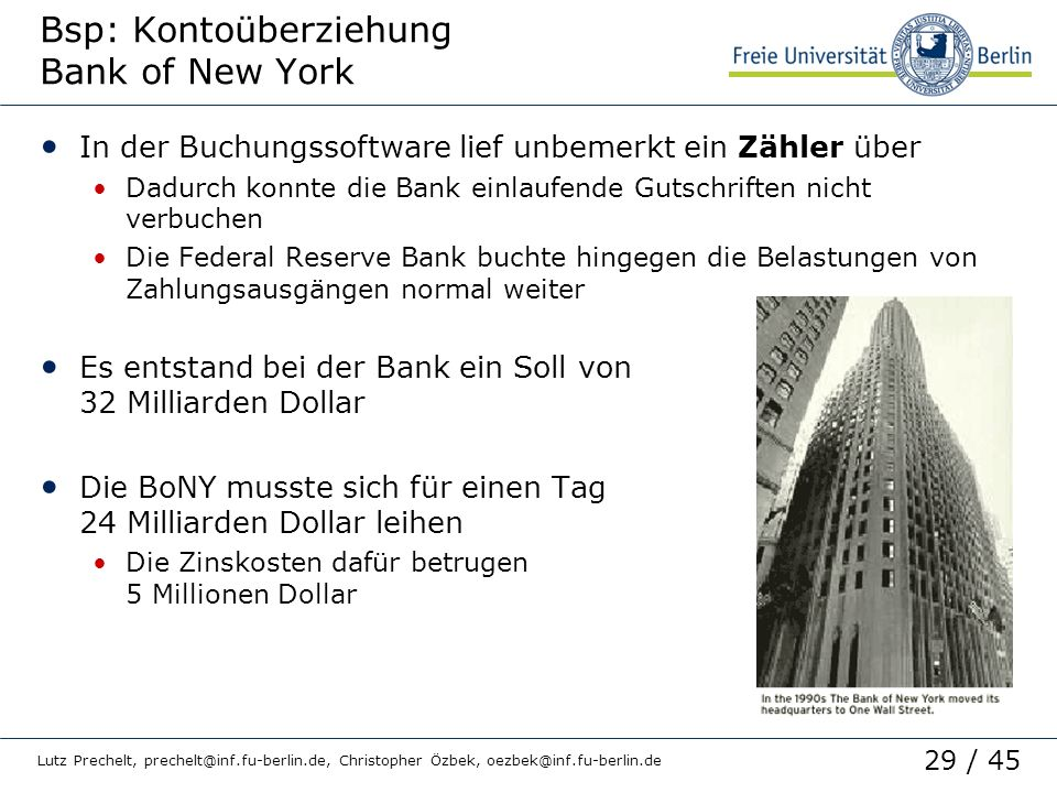 Bsp: Kontoüberziehung Bank of New York