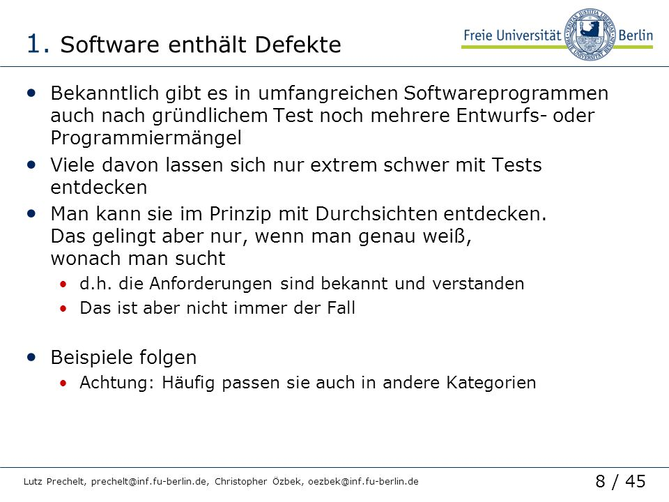 1. Software enthält Defekte