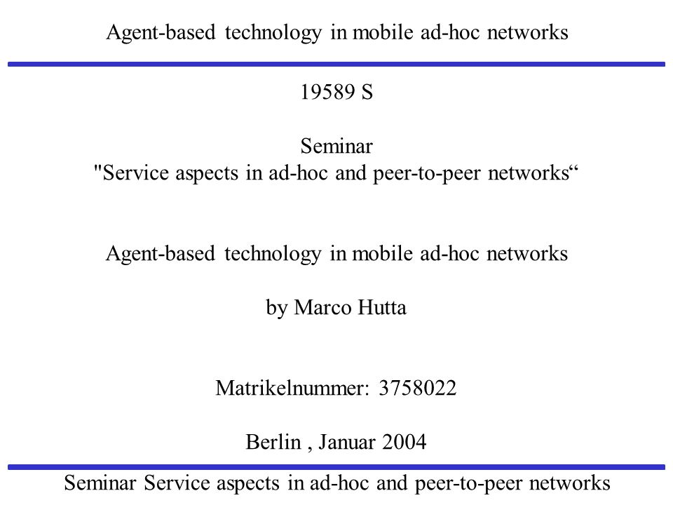 Service aspects in ad-hoc and peer-to-peer networks
