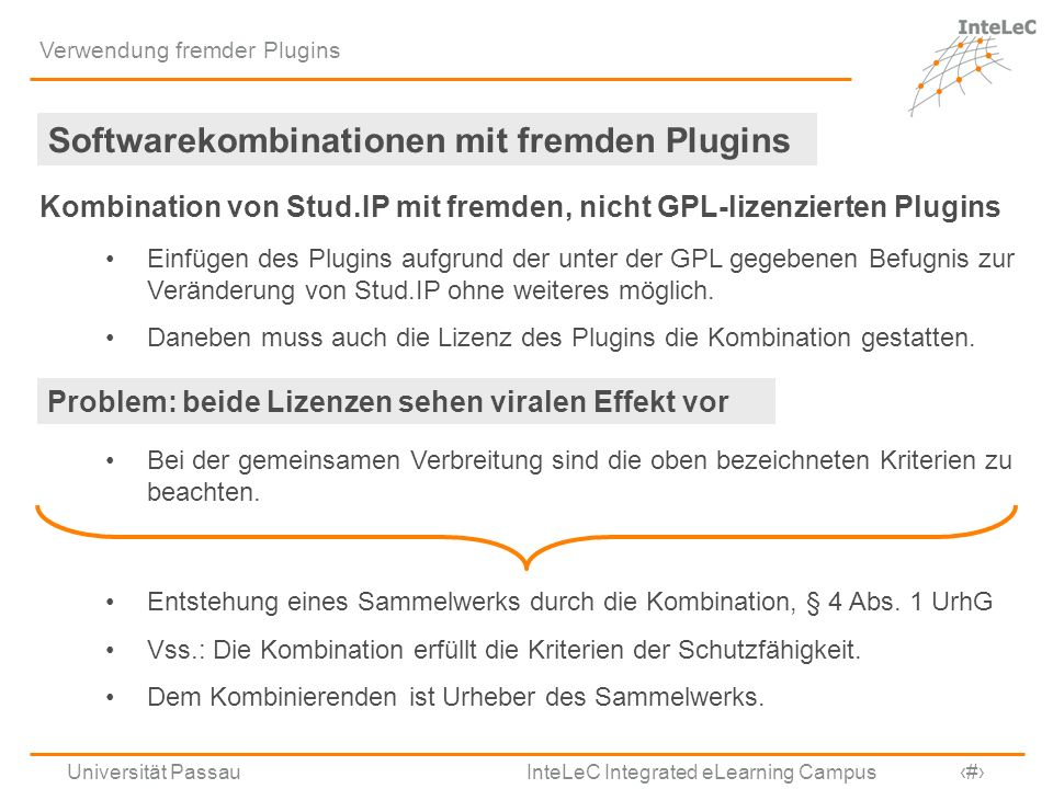 Softwarekombinationen mit fremden Plugins