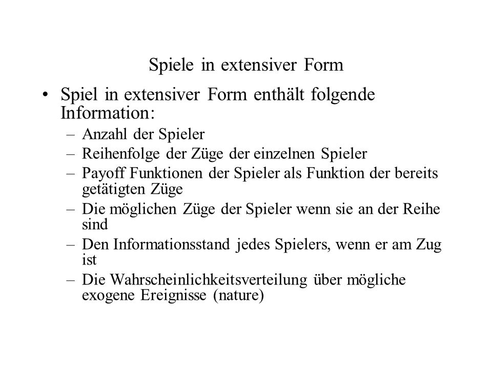 Spiele in extensiver Form
