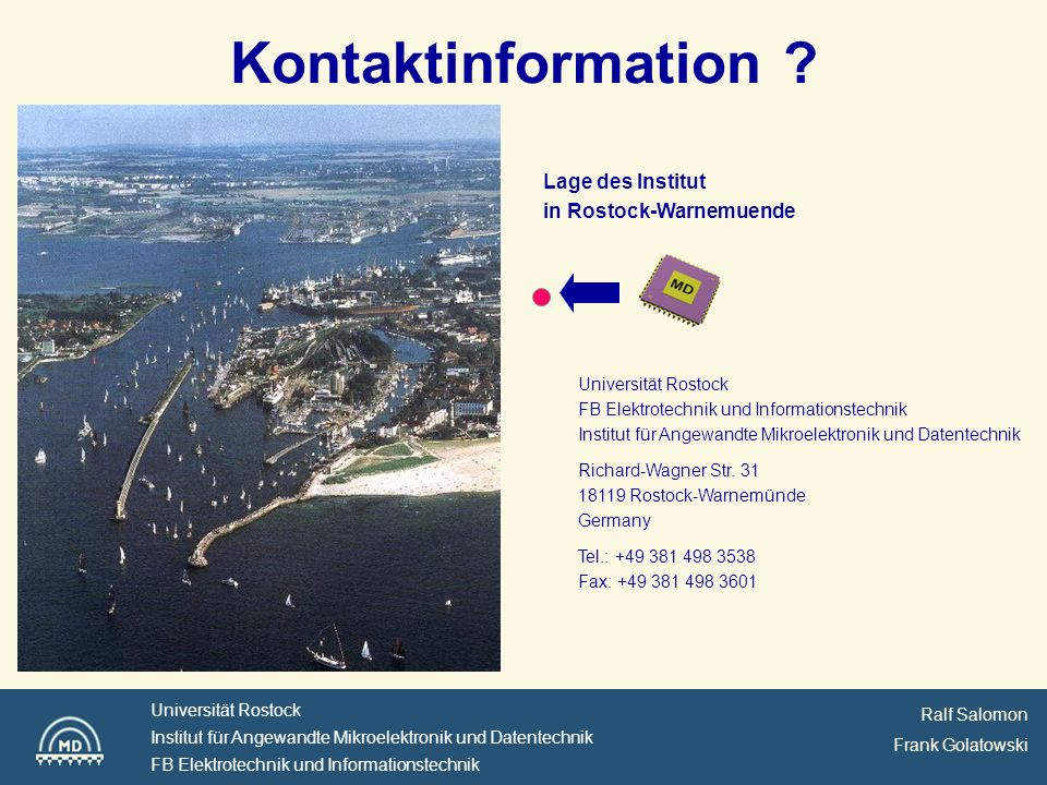 Kontaktinformation Lage des Institut in Rostock-Warnemuende