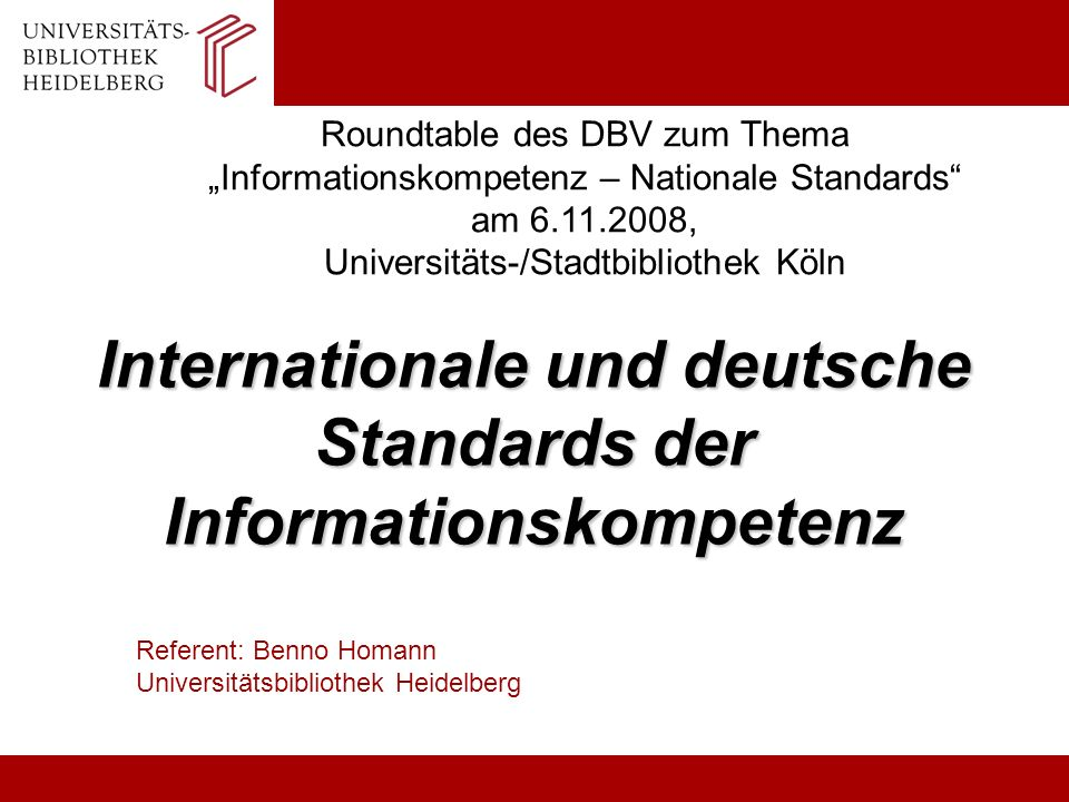Internationale und deutsche Standards der Informationskompetenz