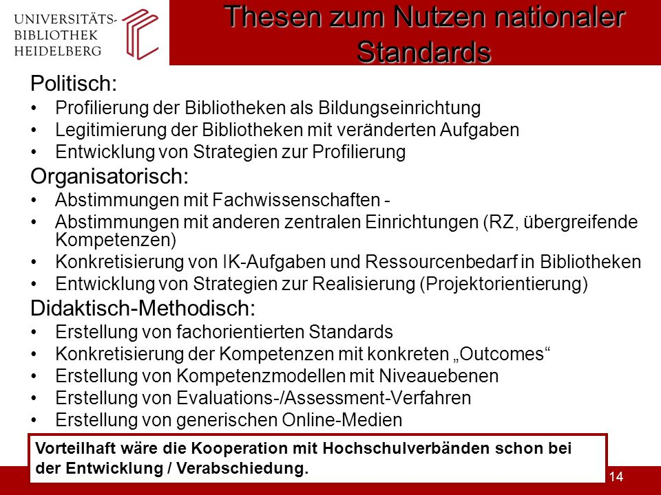 Thesen zum Nutzen nationaler Standards