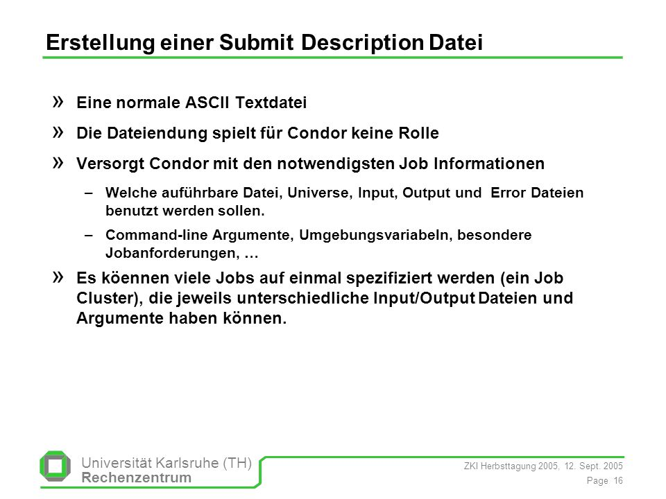 Erstellung einer Submit Description Datei
