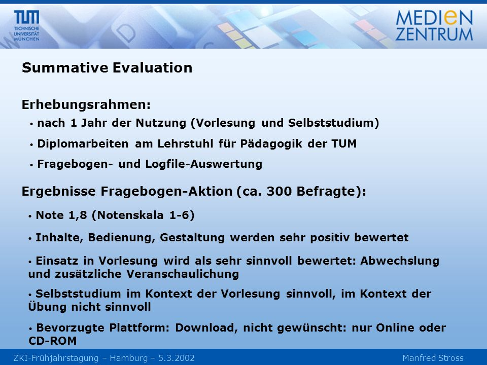 Summative Evaluation Erhebungsrahmen: