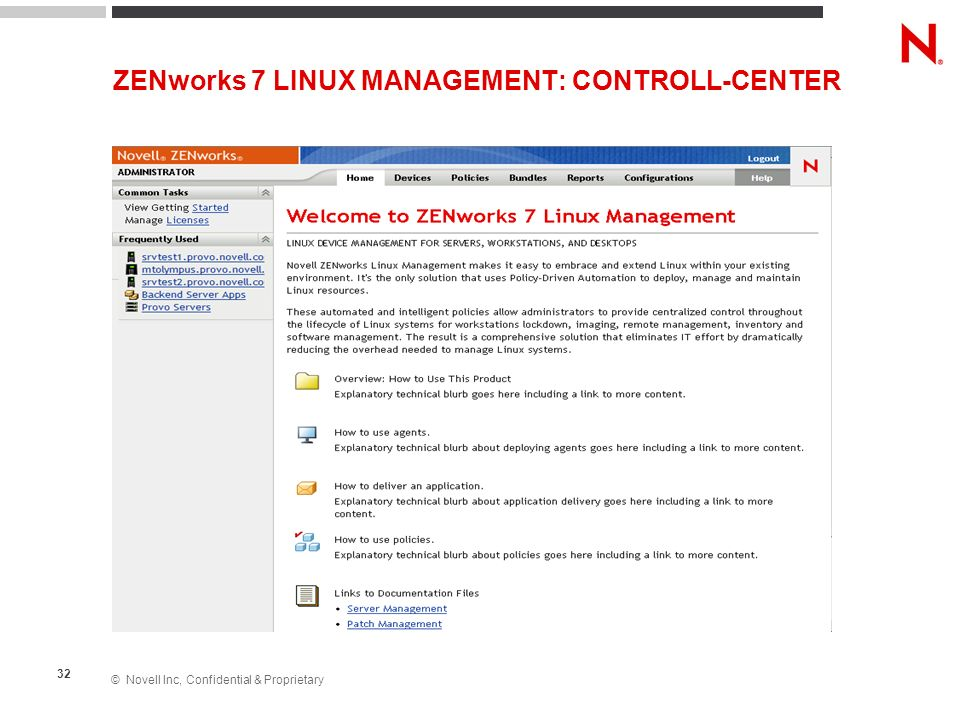 ZENworks 7 LINUX MANAGEMENT: CONTROLL-CENTER