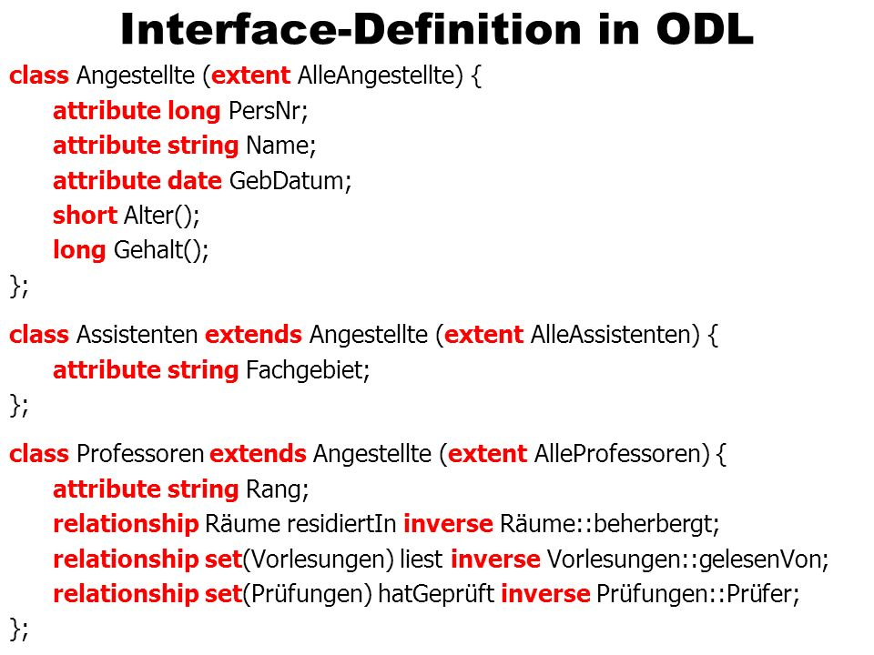 Interface-Definition in ODL