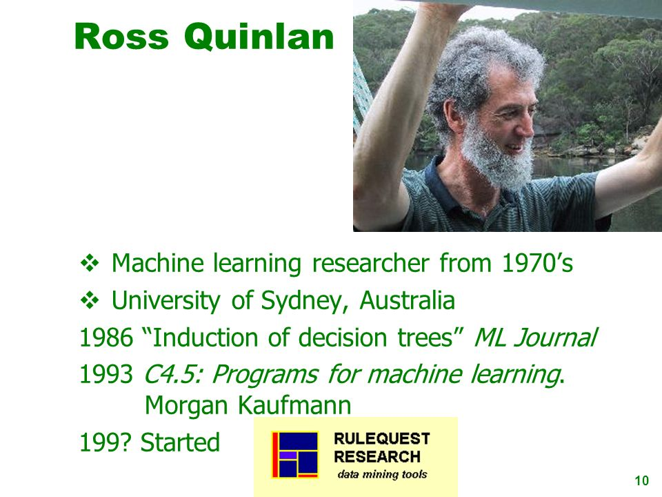 Ross Quinlan Machine learning researcher from 1970's