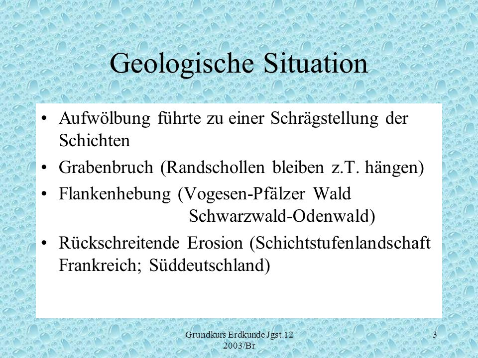Geologische Situation