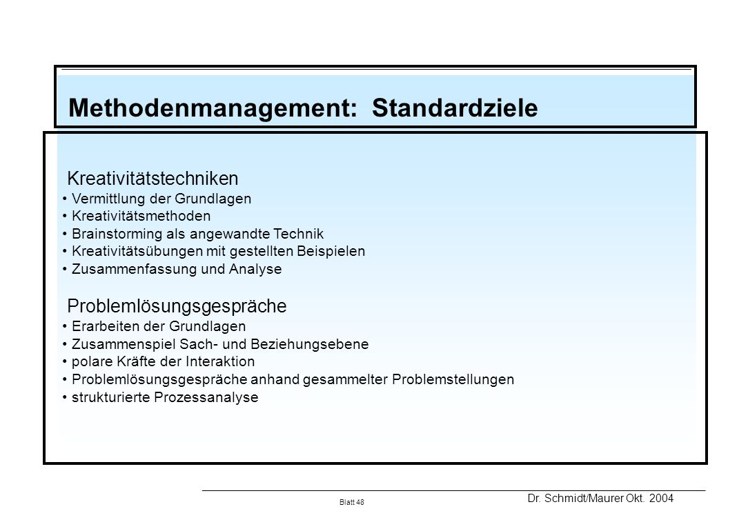 Methodenmanagement: Standardziele