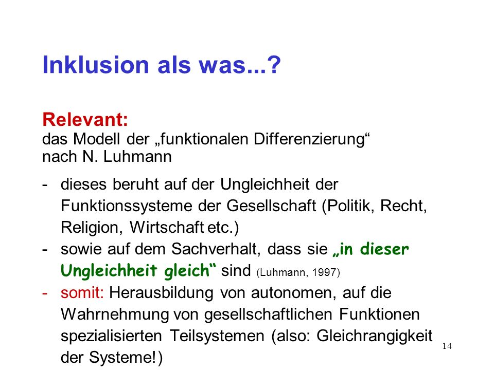 Inklusion als was... Relevant:
