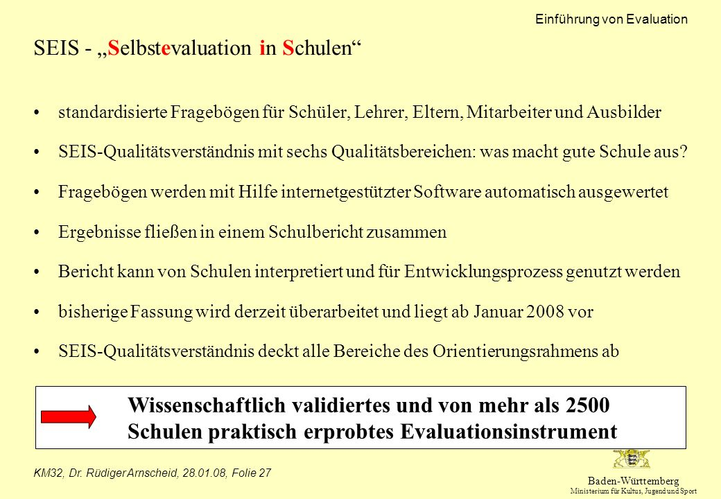"SEIS - ""Selbstevaluation in Schulen"