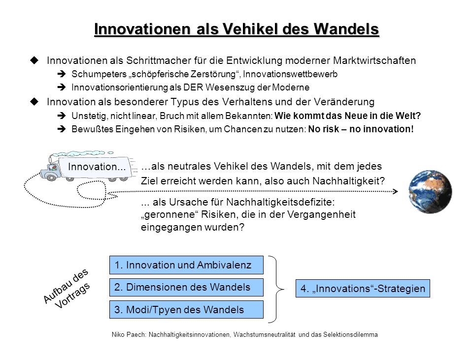 Innovationen als Vehikel des Wandels