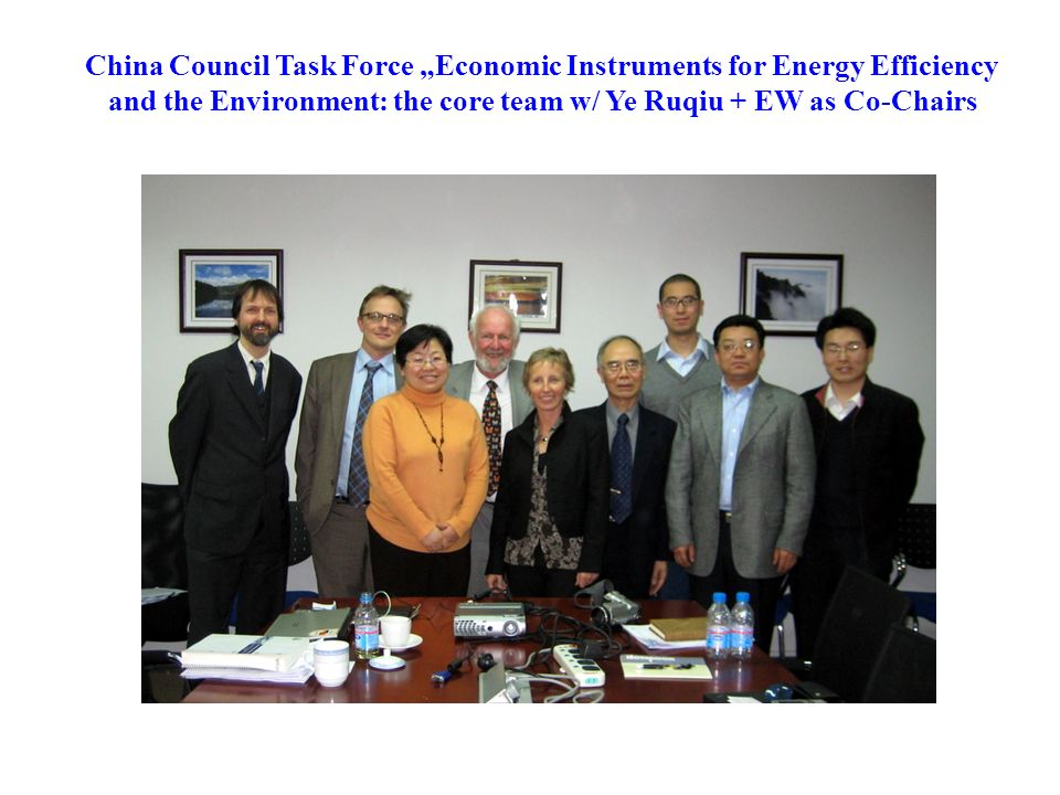 "China Council Task Force ""Economic Instruments for Energy Efficiency and the Environment: the core team w/ Ye Ruqiu + EW as Co-Chairs"