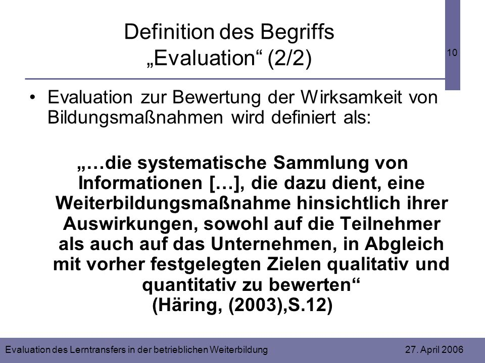 "Definition des Begriffs ""Evaluation (2/2)"