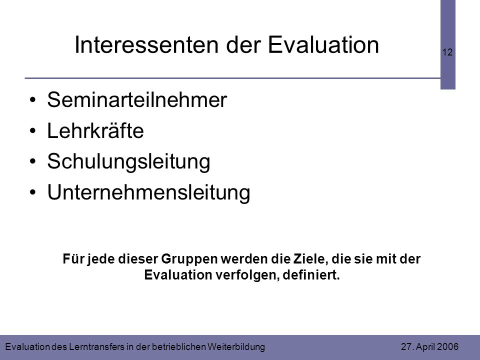 Interessenten der Evaluation