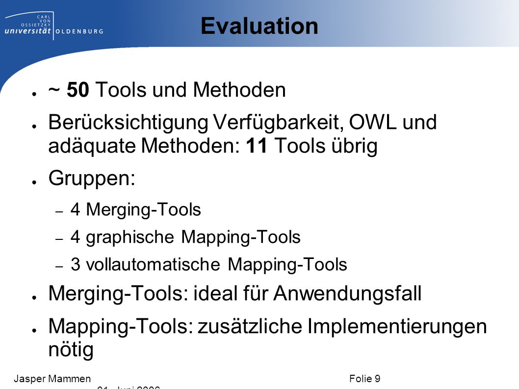 Evaluation ~ 50 Tools und Methoden