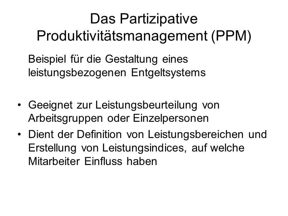 Das Partizipative Produktivitätsmanagement (PPM)
