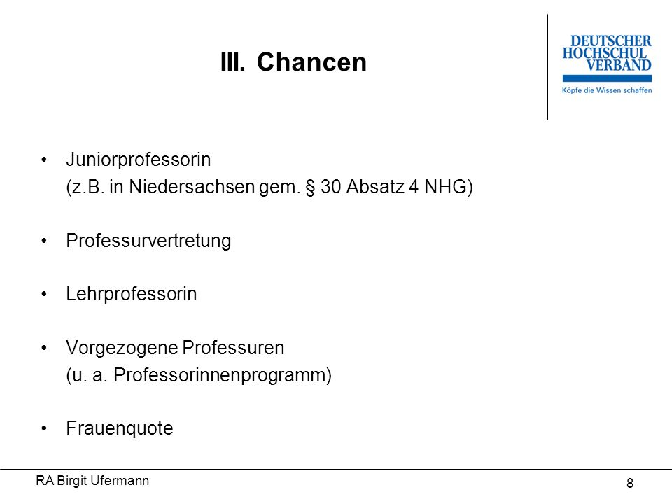 III. Chancen Juniorprofessorin
