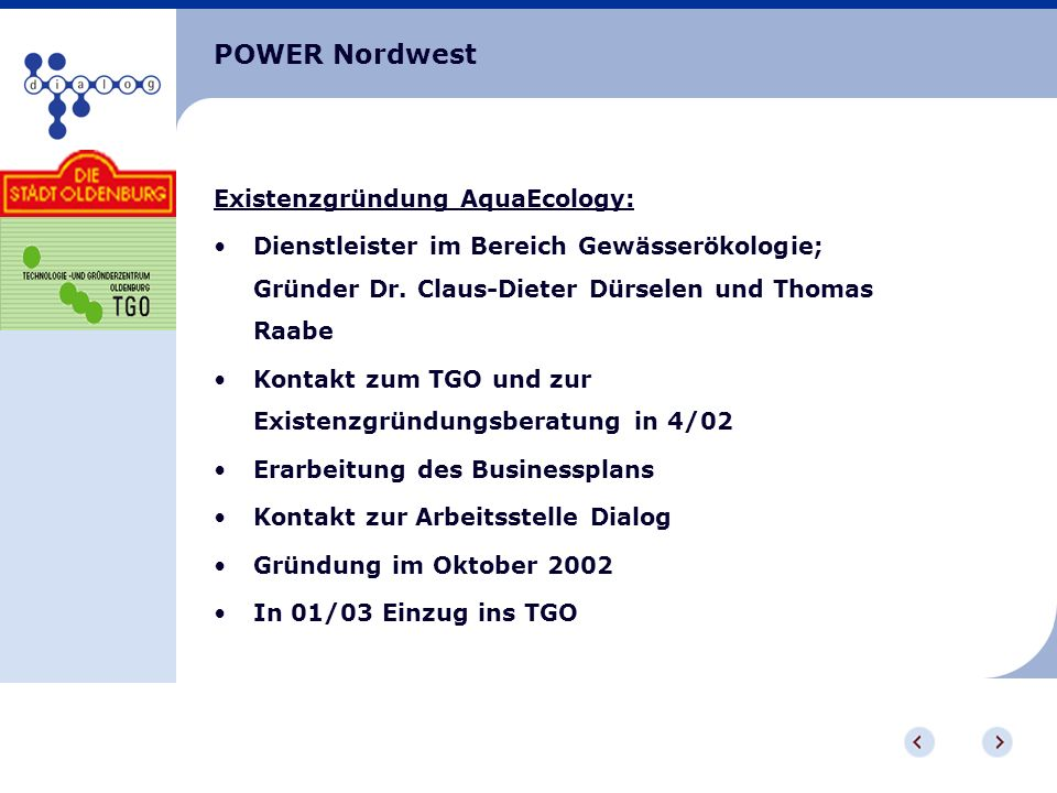 POWER Nordwest Existenzgründung AquaEcology: