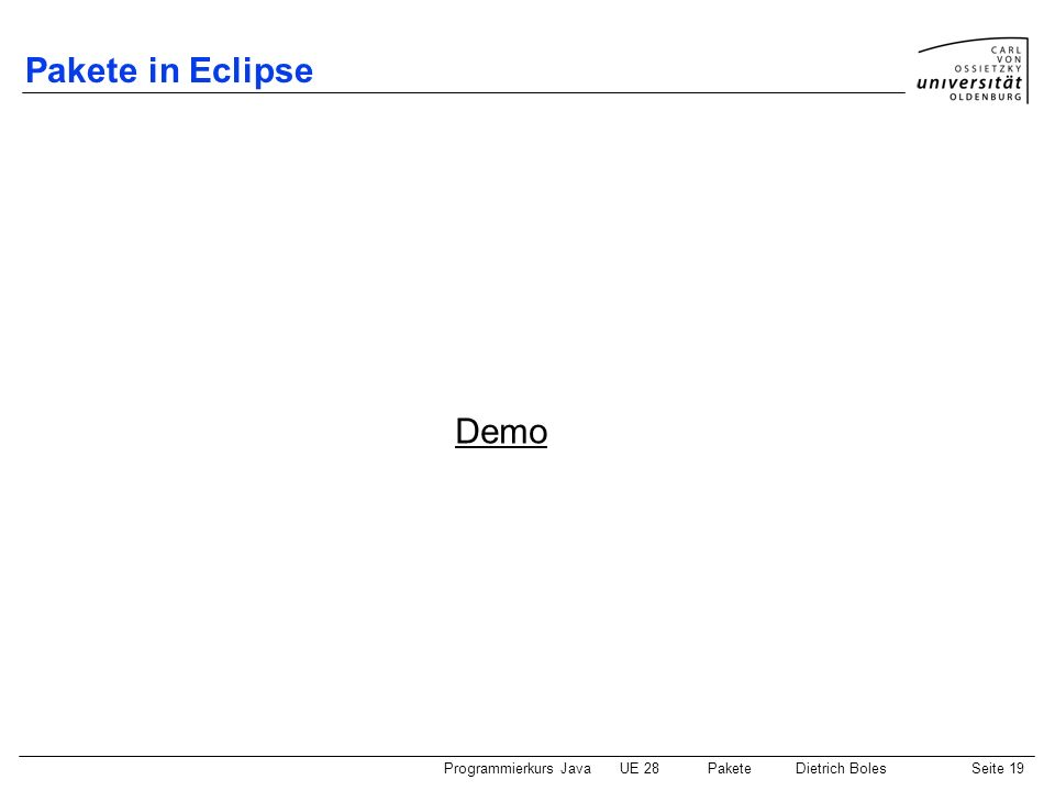 Pakete in Eclipse Demo