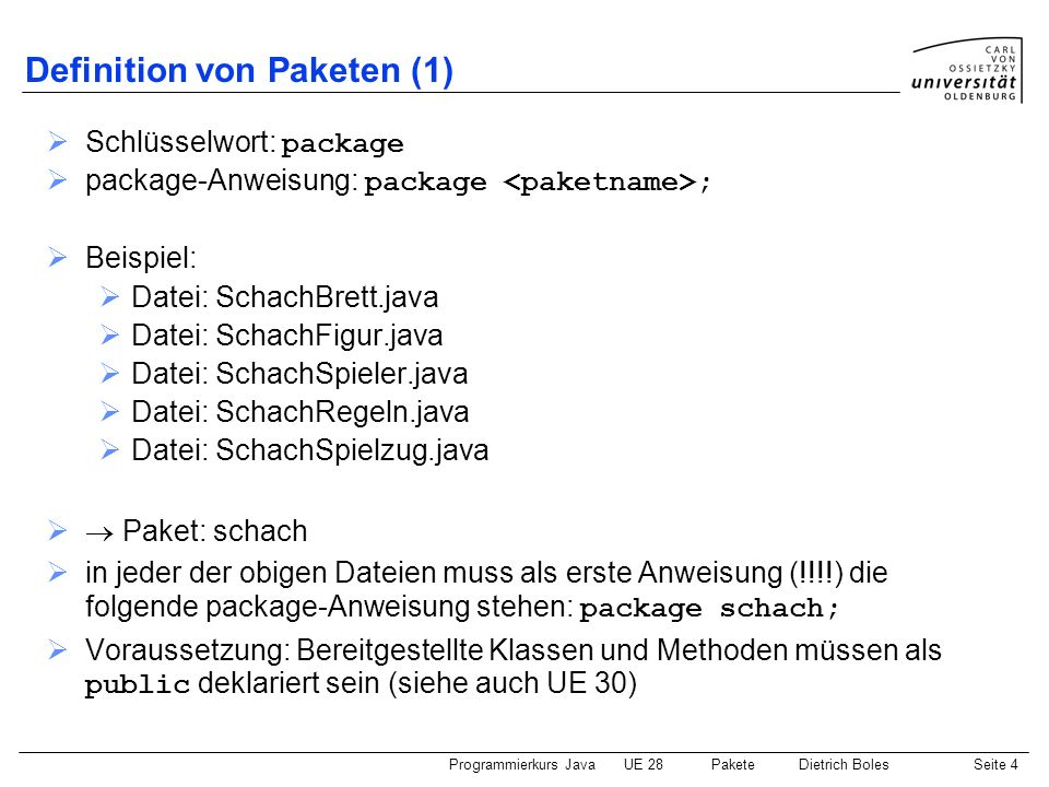 Definition von Paketen (1)