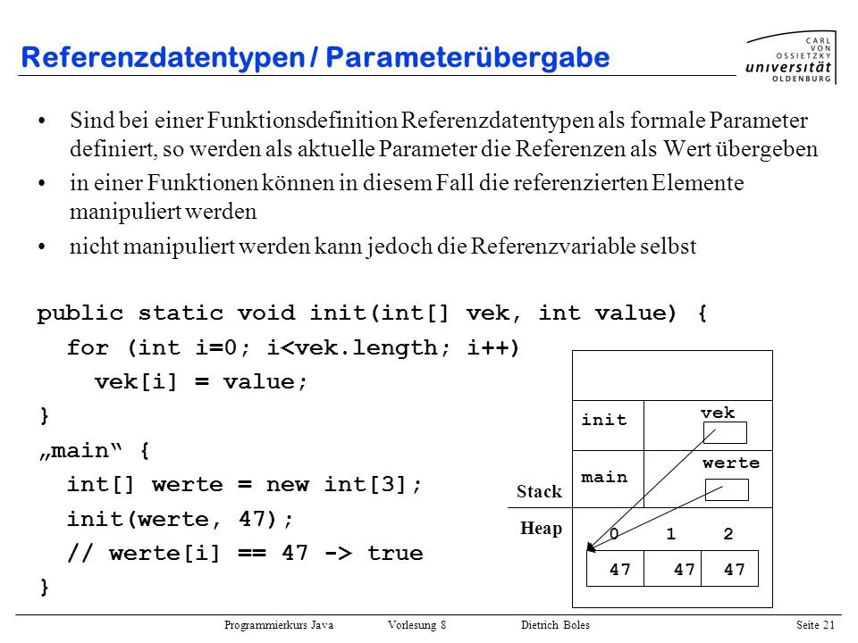 Referenzdatentypen / Parameterübergabe