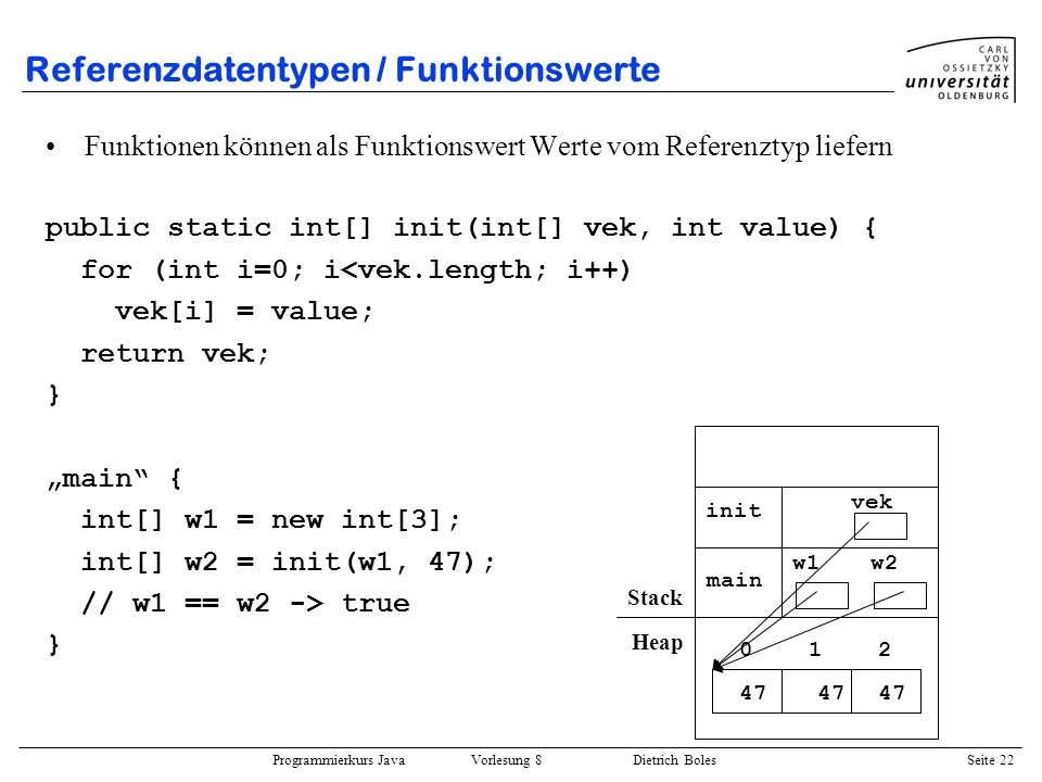 Referenzdatentypen / Funktionswerte