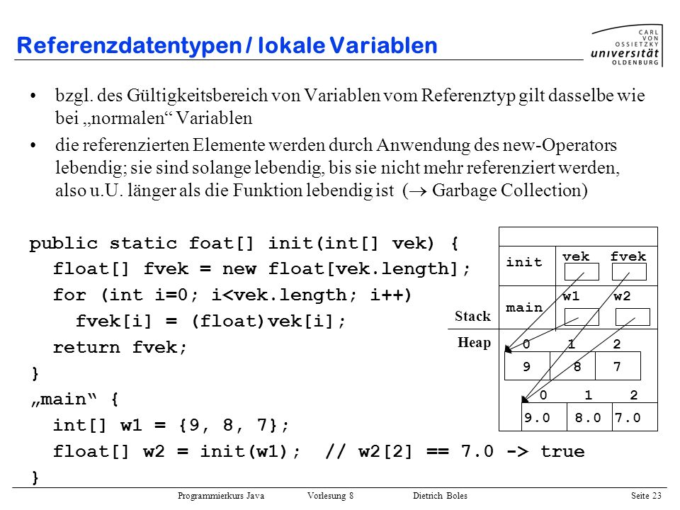 Referenzdatentypen / lokale Variablen