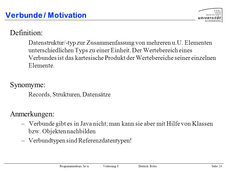Verbunde / Motivation Definition: Synomyme: Anmerkungen: