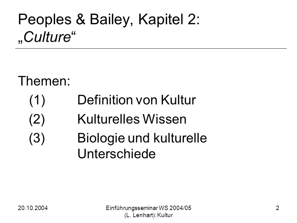"Peoples & Bailey, Kapitel 2: ""Culture"