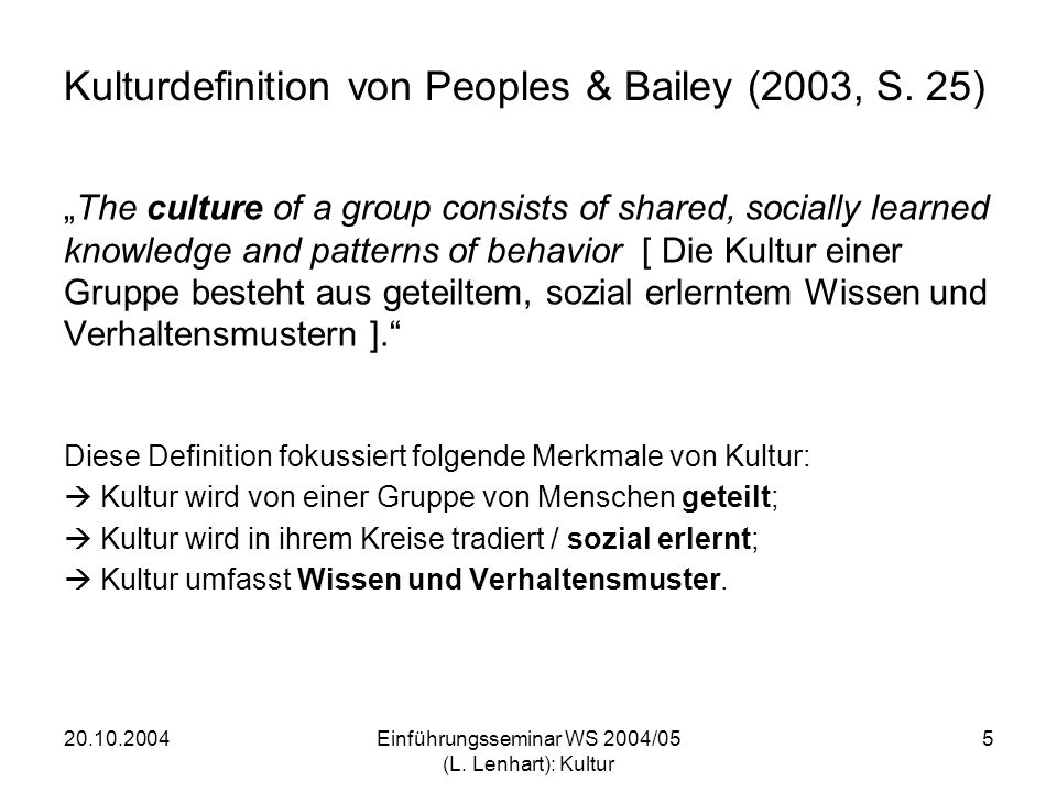 Kulturdefinition von Peoples & Bailey (2003, S. 25)
