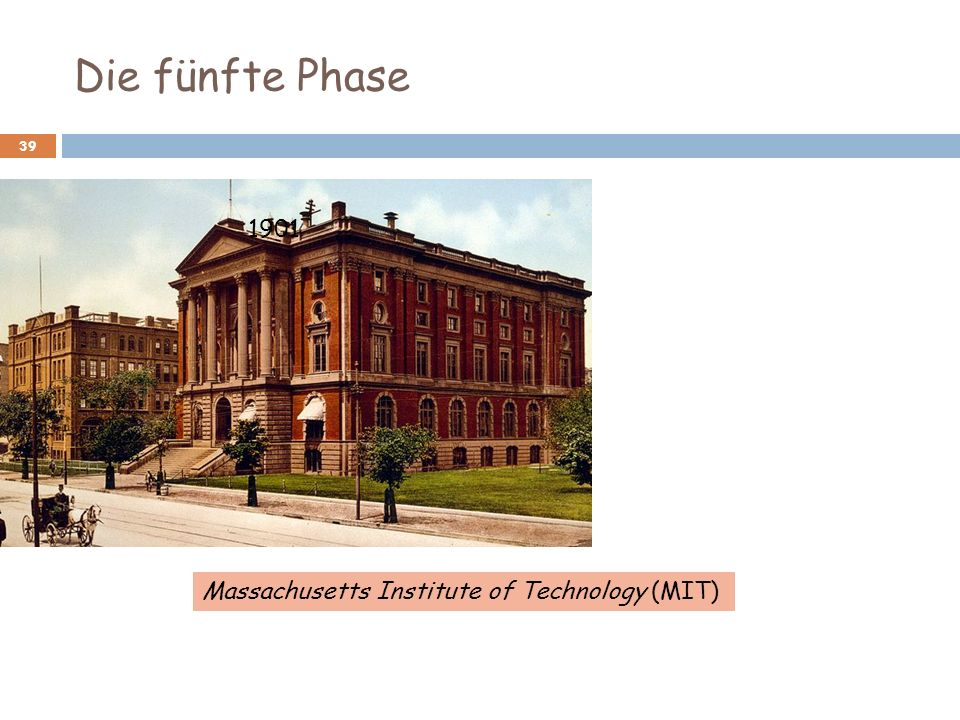 Die fünfte Phase 1901 Massachusetts Institute of Technology (MIT)