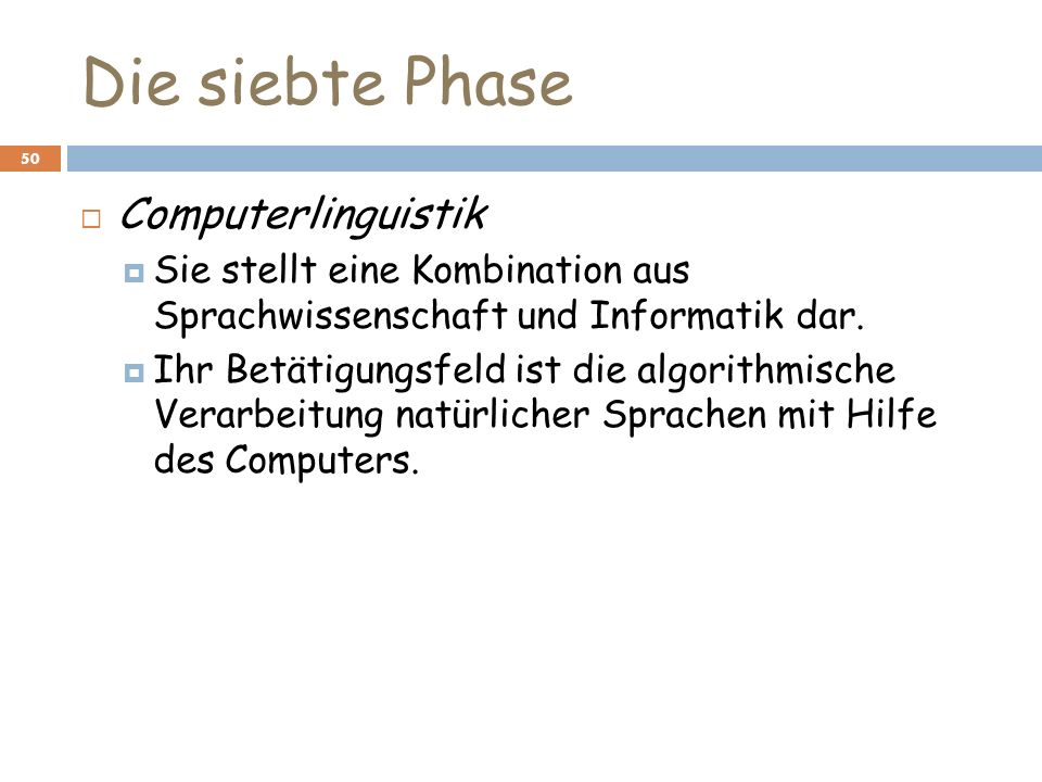 Die siebte Phase Computerlinguistik