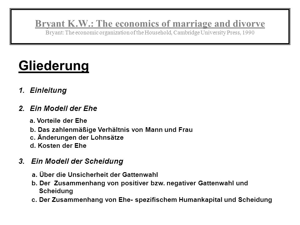 Bryant K.W.: The economics of marriage and divorve Bryant: The economic organization of the Household, Cambridge University Press, 1990