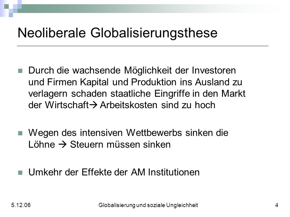 Neoliberale Globalisierungsthese