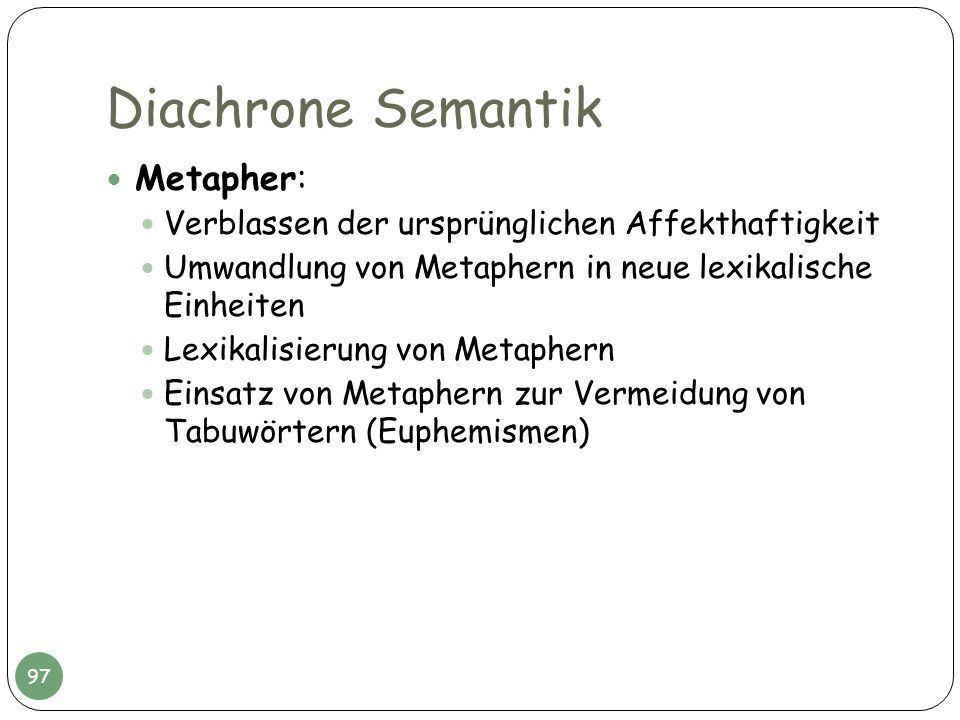 Diachrone Semantik Metapher: