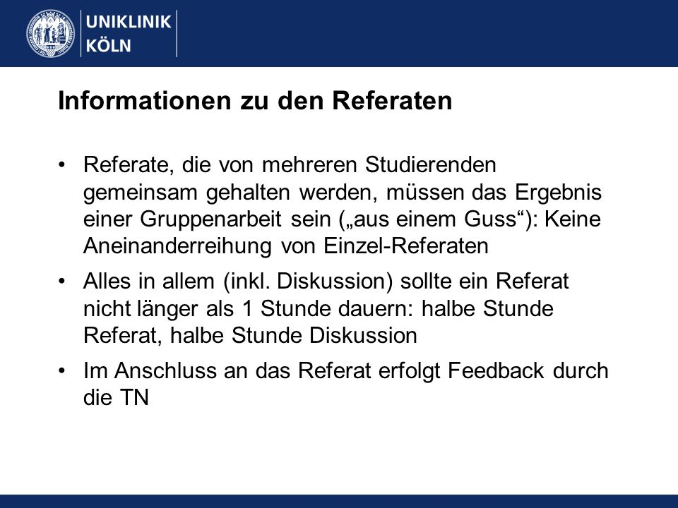 Informationen zu den Referaten