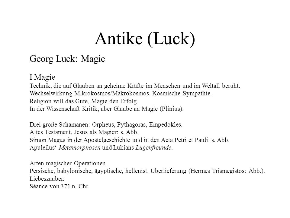 Antike (Luck) Georg Luck: Magie I Magie
