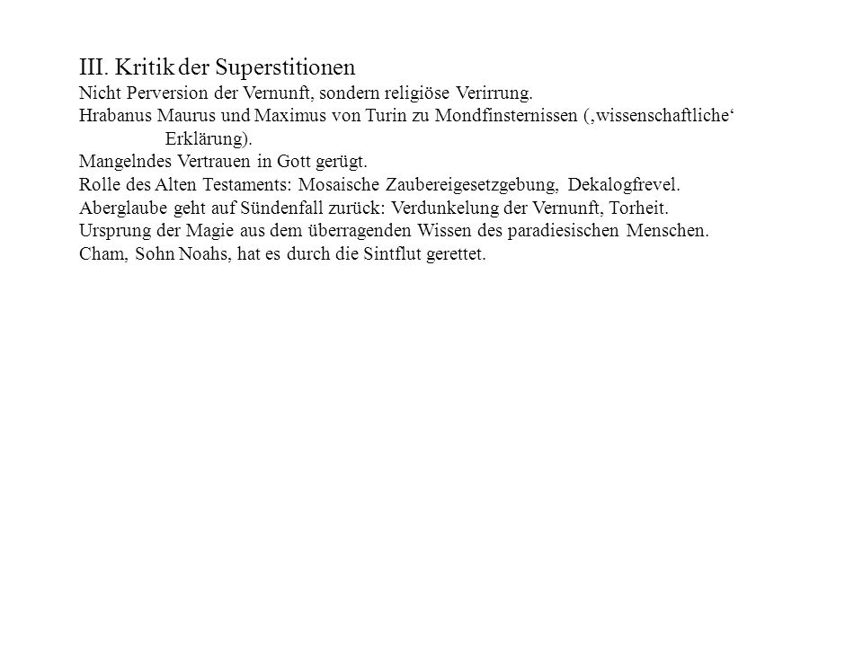 III. Kritik der Superstitionen