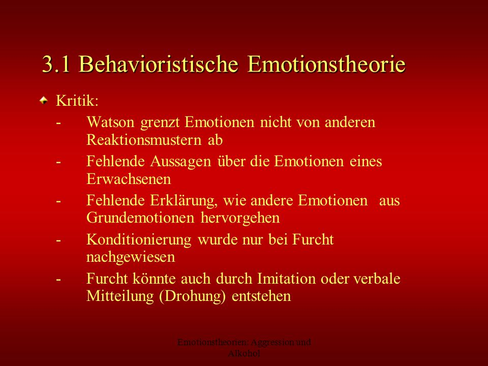 3.1 Behavioristische Emotionstheorie