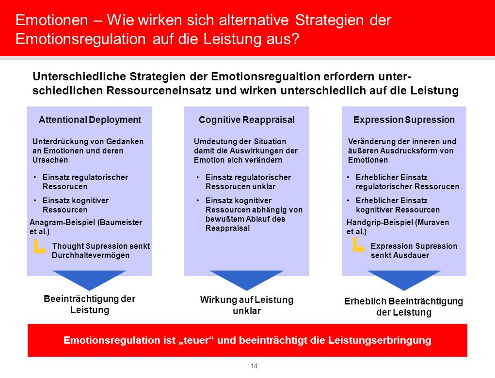 Emotionen – Wie wirken sich alternative Strategien der Emotionsregulation auf die Leistung aus