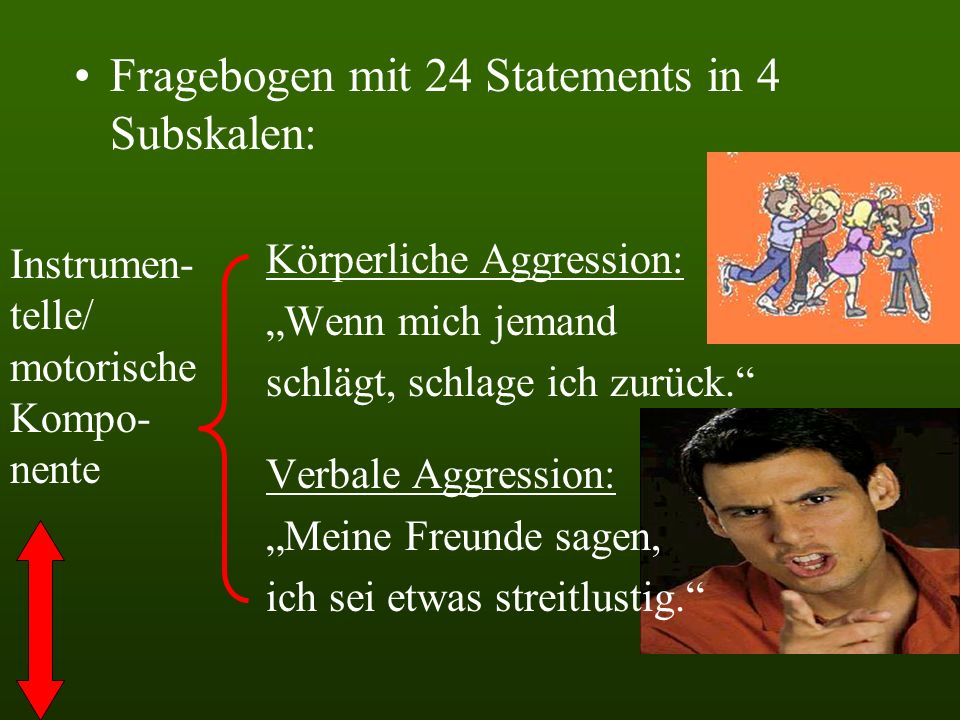 Fragebogen mit 24 Statements in 4 Subskalen: