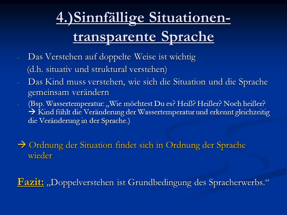 4.)Sinnfällige Situationen- transparente Sprache