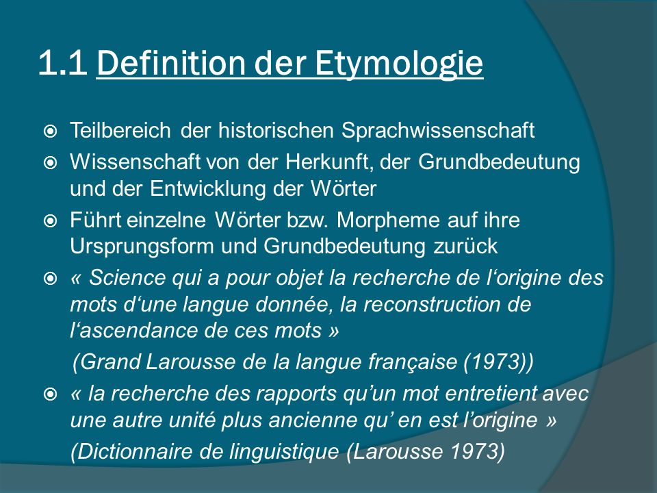 1.1 Definition der Etymologie