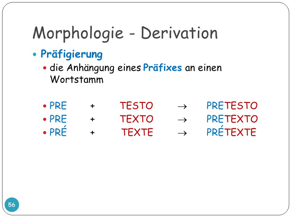 Morphologie - Derivation