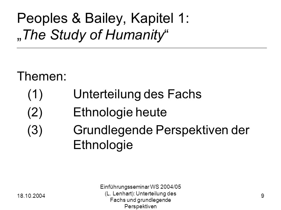 "Peoples & Bailey, Kapitel 1: ""The Study of Humanity"