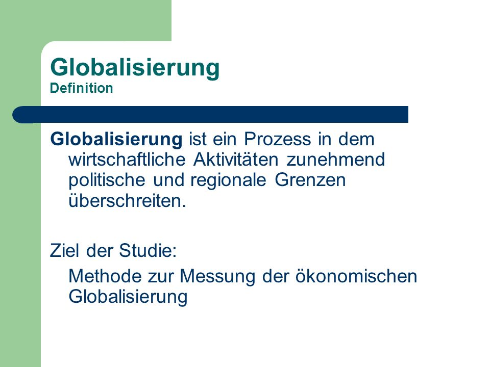 Globalisierung Definition