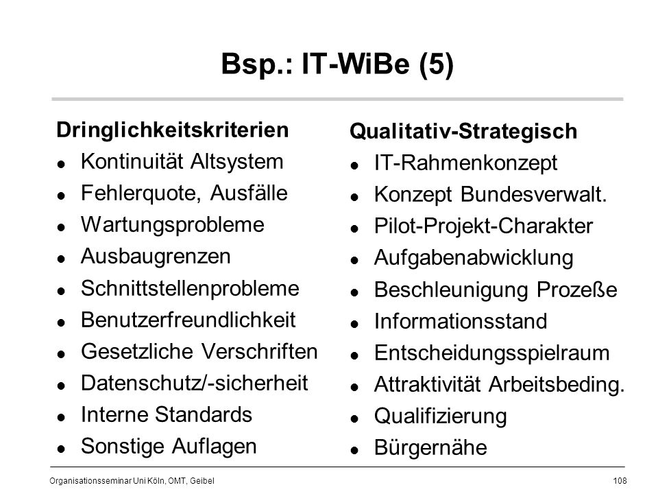 Bsp.: IT-WiBe (5) Dringlichkeitskriterien Qualitativ-Strategisch